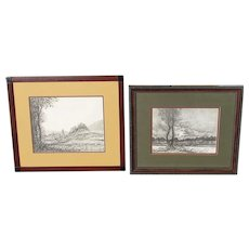 OSCAR KLEIN, Listed, Pair of Mid Century Austria Landscape & Trees Scene