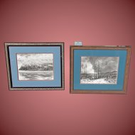 OSCAR KLEIN, Listed, Pair of Mid Century drawings, Azzores & Trees by the Road