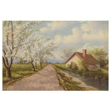 RICHARD KRUGER Listed Country Landscape with Flowering Trees oil