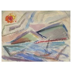ROSE KUPER Listed Modernist Sailboat Seascape mixed media