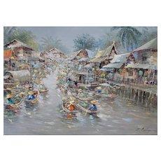 C. MAHAPAN Thai Floating Market Vintage oil painting