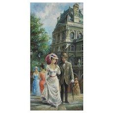 """AMERICO MAKK """"Le Louvre"""" Paris France ORIGINAL oil painting 48"""" x 24"""""""