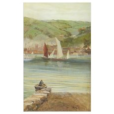 HENRY MARTIN Listed U.K. 1835-1908 River Landscape with Sailing Vessels oil painting