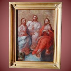 MEXICAN SPANISH COLONIAL Holy Trinity oil on copper Circa 1750's