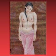 LIANG BAO MING,  Nude Standing Asian Beauty, watercolor