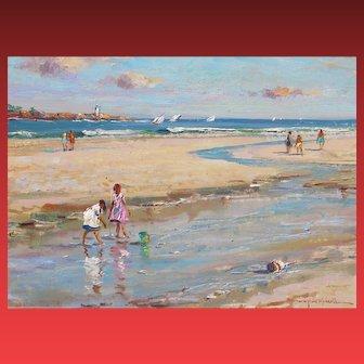 WAYNE BEAM MORRELL, Listed, Children at the Beach, Rockport, Massachusetts, oil