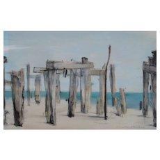 DOUGLASS PARSHALL California Double Sided W/C Abandoned Wharf & Nude Bathers