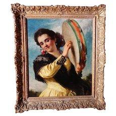 JOHN PHILLIP R.A. Woman w Tambourine Exhbtd London Int. Victorian Ex 1873 oil