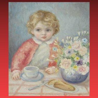 LEONARDO PIZZANELLI, Listed Italian, Child with Flowers, original oil