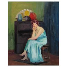 JOHN HUBBARD RICH, Listed, Woman in Blue Gown seated by a Fan, original oil