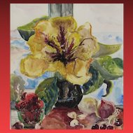 IRENE MARGARET BOWEN ROBINSON, Listed California, Still Life w/ Flowers, watercolor