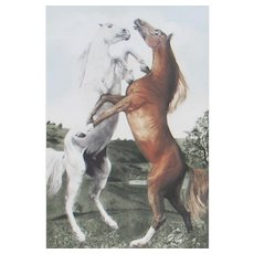 G.H. ROTHE, Listed, Power Play (Horses) Mezzotint, S/N 37/200
