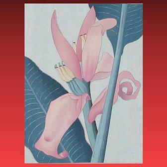 SHIRLEY MARIE RUSSELL, Listed Hawaii, Woodcut, Banana Flower