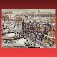 SAUL KOVNER, Listed, Important watercolor, Snow over Crotona Park, 1940, Exhibited