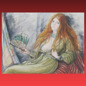 "SHELDON C. SCHONEBERG, Lady with a Fan, 30"" x 40"" original pastel"