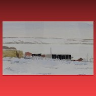 "PETER SHOSTAK , Listed Canadian, Winter Farm ""We Don't Keep Many Cows"" watercolor"