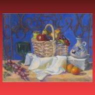 BEATRICE STUART, Listed California, Still Life with Fruit Basket, oil, was $3200