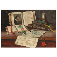 ARISZTID SZENDY Listed Hungarian Still Life with Books and Objects oil