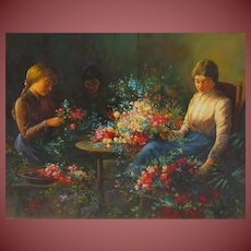 TIBOR TASNADI Listed Girls with Flowers oil painting