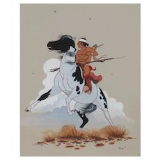 BEATIEN YAZZ (Little No Shirt) Navajo Gouache Indian Scout on Horseback