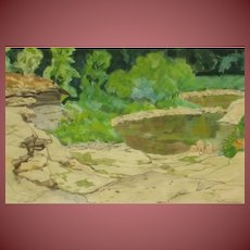 CARL JOHN ZIMMERMAN (1900-1985 Ohio) Nudes by Pond W/C was $600 to $900 at auction