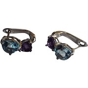 Natural faceted Aquamarine And Amethyst Upside down Heart Shaped Stone, Earrings