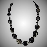 Chunky Natural Black Onyx Necklace/ Earrings