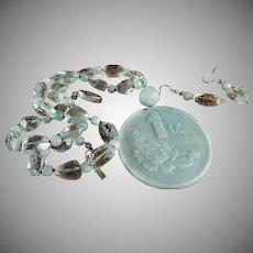 100% Natural Jadeite, 100 Million Coin Pendant, Rock Crystal, Earrings