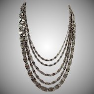 Mid Century 5 Strand Hammered Silver plated Necklace