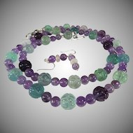 Carved Flourite And Amethyst Necklace, Earrings