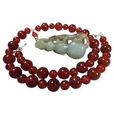 Red Carnelian, Vintage Handcarved Jade Lion On Gourd, Necklace Plus Earrings