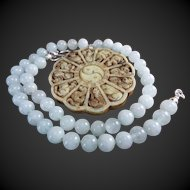 Large, Jade Carved Chinese Zodiac, Pendant, Jade Beads Necklace, Earrings