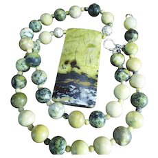 African Turquoise,( Really Jasper). Necklace Plus Earrings