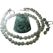 Grade A Jadeite, Certified, Dragon and Beads Necklace, Plus Earrings