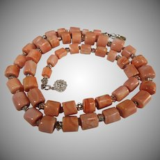 Natural Salmon Coral Log Beads, Sterling silver Necklace