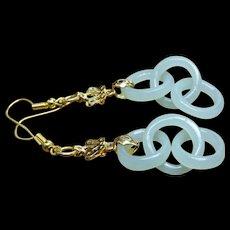 Chinese, Devils Work, Jade Drop Earrings