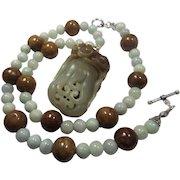 Untreated Hetian Jade Carved Pendant, With Untreated Jadeite Beads, Earrings