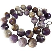 Large Bead Natural Amethyst Necklace, Earrings