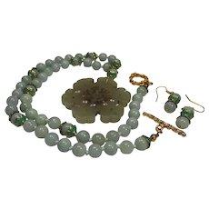 Very Old Pendant, Jadeite beads, Necklace, Earrings