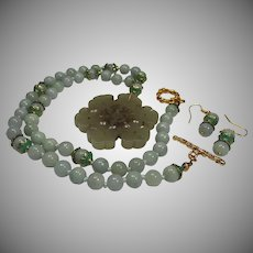 Very Old Pendant, Jadeite beads, Necklace, Earrings