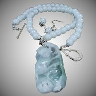 chinese Carved Jadeite Pendant, With White nephrite Jade Beads, Earrings