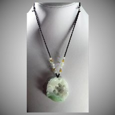 Chinese Openwork, Natural Jadeite, Fish Pendant, Plus Cord