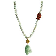 Undyed, Certified Grade A, Jadeite Necklace, With Boxwood Netsuke, Matching Earrings