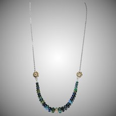 Rare Natural Black Ethiopian Welo Opal Necklace, Earrings