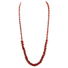 Natural Salmon Coral, Carved Barbell Beads, Necklace With Earrings