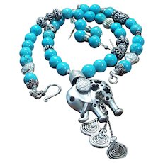 Natural Hubei Mined Turquoise, With Miao Silver Elephant Necklace, Earrings
