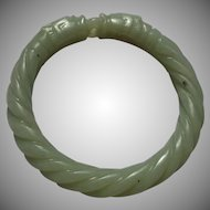 Nephrite Jade Handcarved Double Dragon Bangle