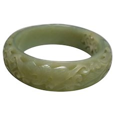 Amazing, Intricately Hand Carved, Devils Work, Hetian Jade Bangle