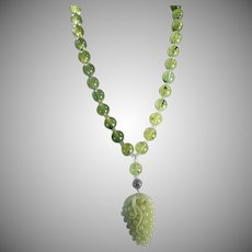 Hand Carved Nephrite Jade Grape Cluster Pendant, With Large Prehnite Round Beads, Earrings