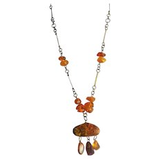 Old, Baltic Amber And Brass Necklace